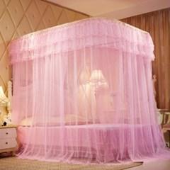 레일형 침대모기장(200x220cm)(핑크) / 레이스모기장