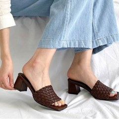 kami et muse Fine mash middle heel slippers_KM20s179