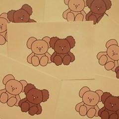 bear postcard : ivory