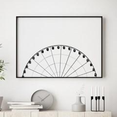 대관람차 감성 포스터 인테리어 흑백 그림 액자
