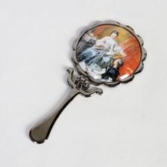 큐티메탈 데이지 원형 접이 콤팩트 손거울-흑진주
