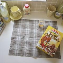 mocha linen check kitchen cloth