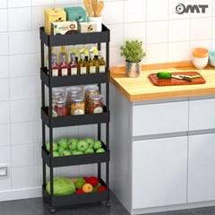 OMT 틈새 공간활용 이동식 5단 트롤리 수납선반 단수조절가능