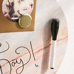 원형 스톤무늬 자석 보드 블랙마카 포함 / Magnetic Dry Erase Board