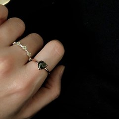 그린 투어말린 하트 반지