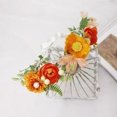 양귀비&메리골드 orange color 조화화관