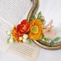 양귀비꽃 orange color 조화꽃팔찌