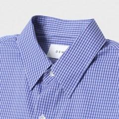 여름 남성 오버핏 체크 소라색 얇은 정장 긴팔 와이 셔츠 남방