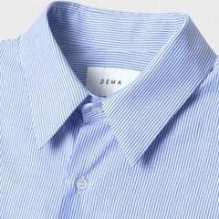 여름 남성 빅사이즈 오버핏 스트라이프 소라색 긴팔 셔츠남방