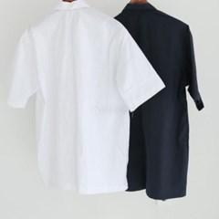 여름 남성 오버핏 빅사이즈 흰색 정장 오픈카라 반팔셔츠남방