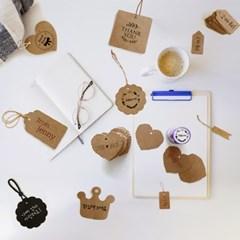 선물포장용 라벨택 크라프트 메모지 정사각 종이라벨