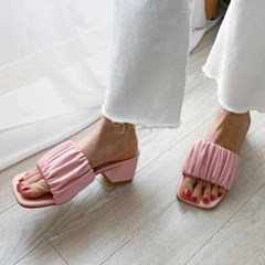 kami et muse Rich shirring middle heel slippers_KM20s206