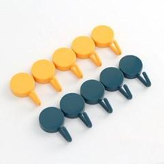 심플 접착식 후크세트(그린+옐로우)/ 10p 원형 벽후크