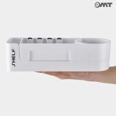 OMT 벽걸이 흡착 회전접이식 욕실 수납 선반 후크걸이내장