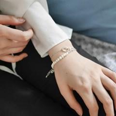 oval n pearl bracelet (실버컬러)
