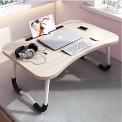 테블릿 홀더 접이식 좌식 테이블(베이지)
