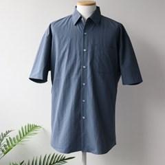 여름 남성 빅사이즈 오버핏 무지 형광 네온 단추 반팔 셔츠 남방