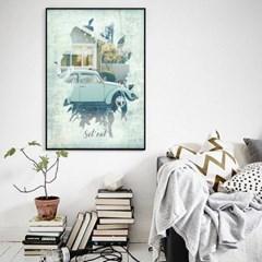 빈티지 카페 거실 인테리어 그림 액자 패브릭 포스터 클래식카