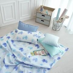 [단품 - 베개커버] 엘레팡트(블루) - 면 리플 여름용 낮잠이불