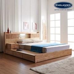 잉글랜더 클림트 LED 원목 평상형 수납 침대(DH 라텍스_(12791677)