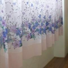 [커튼] 디자인 쉬폰 커튼 도라지꽃