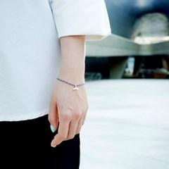[기부팔찌] 실버체인 실크끈 믹스_고래꼬리 시리즈 #04