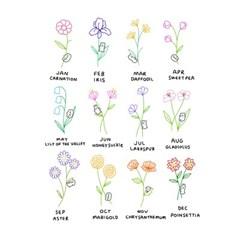 탄생화 친구들 12종 - 굿모닝타운 타투 스티커 Vol 4