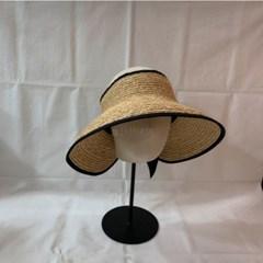 리본 바캉스 여름 띠 챙넓은 라탄 밀짚 썬캡 모자