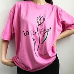예약할인) 4컬러- 튤립 프린팅 박시핏 하프 롱티셔츠 핑크