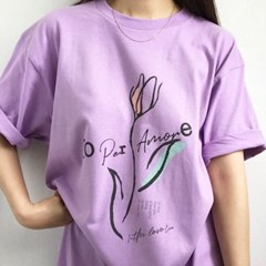 예약할인) 4컬러- 튤립 프린팅 박시핏 하프 롱티셔츠 바이올렛