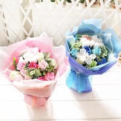 코튼 비누장미 꽃다발 블루 로즈데이 성년의날 선물_(2667554)