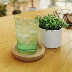 사각라운드 PC컵-360ml(12oz/그린)-1P 홈카페 물컵 투명플라스틱컵