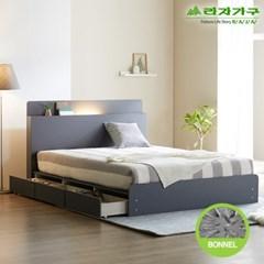 라자가구 오브 가인 LED 3서랍수납형 본넬양면 Q 침대 DM8865