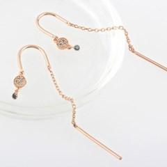 14K 피렌체 청다이아몬드 롱 체인 귀걸이