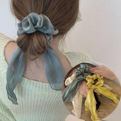 피오 여성 쉬폰 곱창 리본 머리끈 헤어밴드_(2438454)