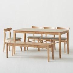 한샘 로하 원목 6인 식탁세트 (비트윈의자4, 와이드벤치1포함)_DIY