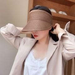 여자 여름 지사 밀짚 선캡 돌돌이 모자