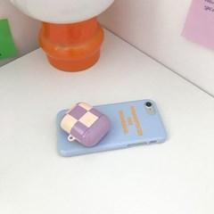 Airpods case - purple checkered 에어팟 케이스
