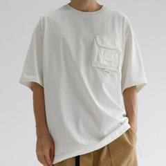 오버핏 포켓 남자 반팔 티셔츠