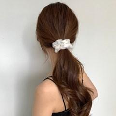 도트 레이스 자수 곱창머리끈 2colors