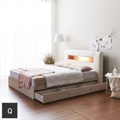 가구데코 케이트 LED 3서랍 퀸 침대프레임 FO2097