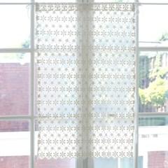 [모모제작소]별꽃 레이스 입체자수 북유럽 가리개커튼 77x109