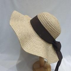 리본띠 패션 명품 데일리 챙넓은 물결 라피아햇 모자