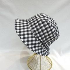 빈티지 스트릿 패션 체크 숏챙 버킷햇 벙거지 모자