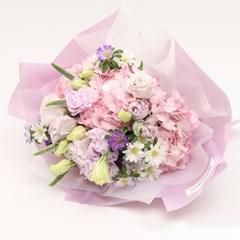 핑크퍼플 수국 꽃다발L (생화, 전국택배)