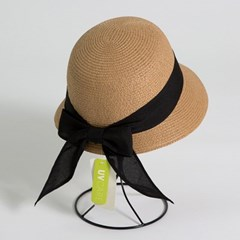 [더로라]패션 밀짚 모자- 뒷리본 심플띠 밀짚모자 H006