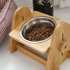 강아지 고양이 원목 밥그릇 높이조절 식기세트(스텐) 2t_(1958276)