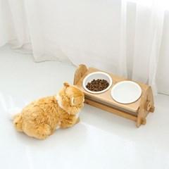 강아지 고양이 원목 밥그릇 높이조절 식기세트(도자기)_(1958275)