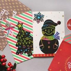 크리스마스 스크래치 카드&봉투 10SET_(1316347)