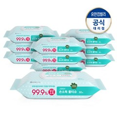 [그린핑거]손소독물티슈 30매캡 X10
